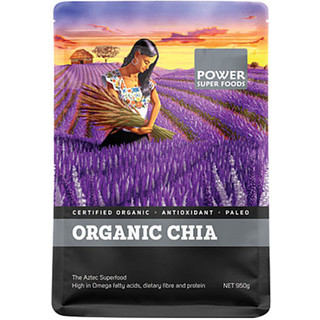 Chia Seeds Cert. Org 950gm by Power super Foods