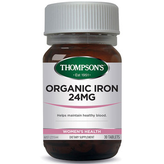Organic Iron 24mg 30 tabs by Thompsons